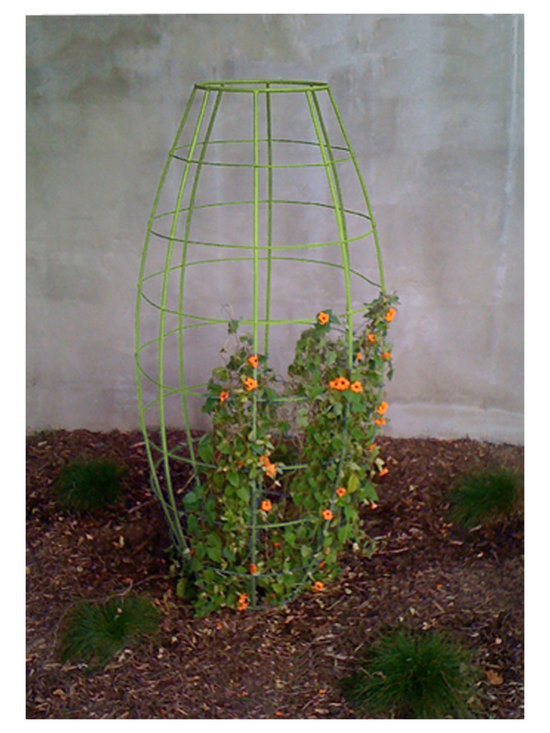 TerraTrellis - Toki Bubble Trellis - Modern, sculptural trellis. Integrates with plant to create living sculpture in garden or patio. Super sturdy, knocks down into three parts for easy transport/storage, stainless steel bolts included. Handmade in the USA.