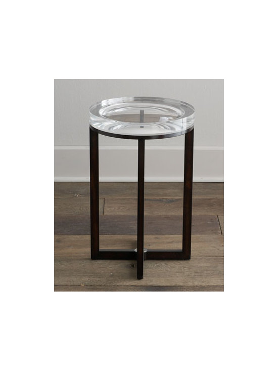 """Horchow - Pierce Side Table - A master of illusion, this unique side table features an extra-thick acrylic top with concave details inside to test your """"depth perception."""" Handcrafted of walnut hardwood, ebony veneers, and acrylic. X-shaped stretcher. 16""""Dia. x 25""""T. Imported....."""