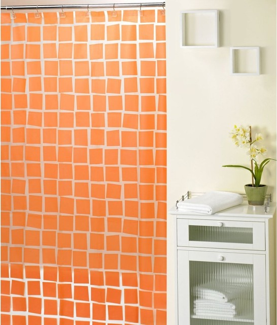 Real Squares Orange Shower Curtain Contemporary Shower