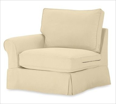 PB Comfort Roll-Arm Left Armchair Slipcovers, Brushed Canvas Honey traditional-chairs