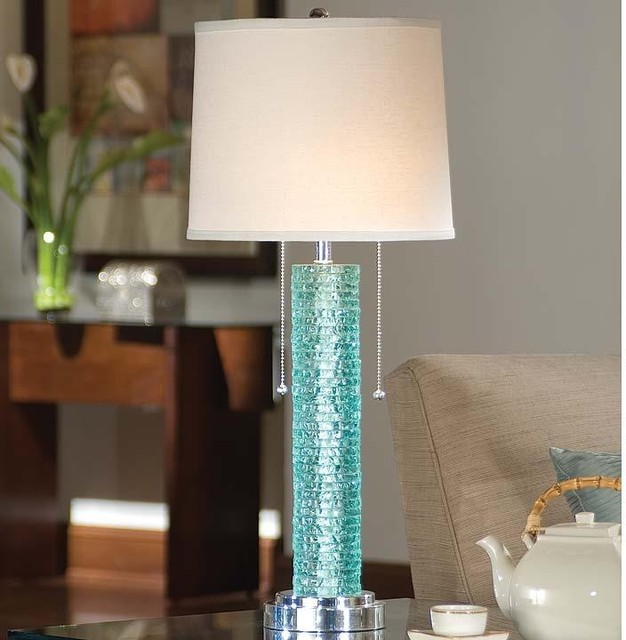 Regina Andrew Aqua Crystal Chipped Edge Table Lamp traditional-table-lamps