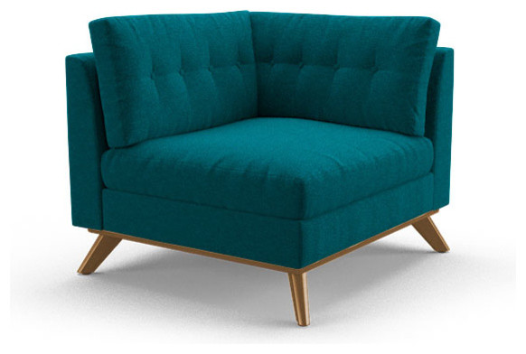 Hopson Corner Chair Lucky Turquoise Blue Midcentury