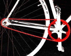 Bike In Black White And Red No 2 giclee art print by Ben and Raisa Gertsberg modern artwork