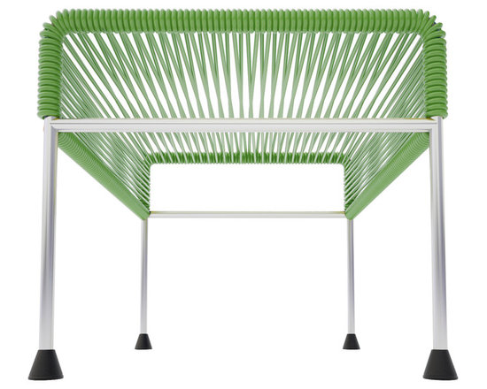 Adam Ottoman, Chrome Frame With Cactus Weave - Sleek woven vinyl makes this coffee table stand out from the crowd. It's a great option for indoor and outdoor entertaining since the vinyl is UV protected and the metal base is galvanized. The only challenge would be deciding on your favorite color top to pair with the sleek chrome base.