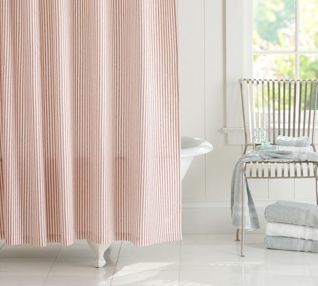 Vintage Ticking Stripe Shower Curtain, Red traditional shower curtains