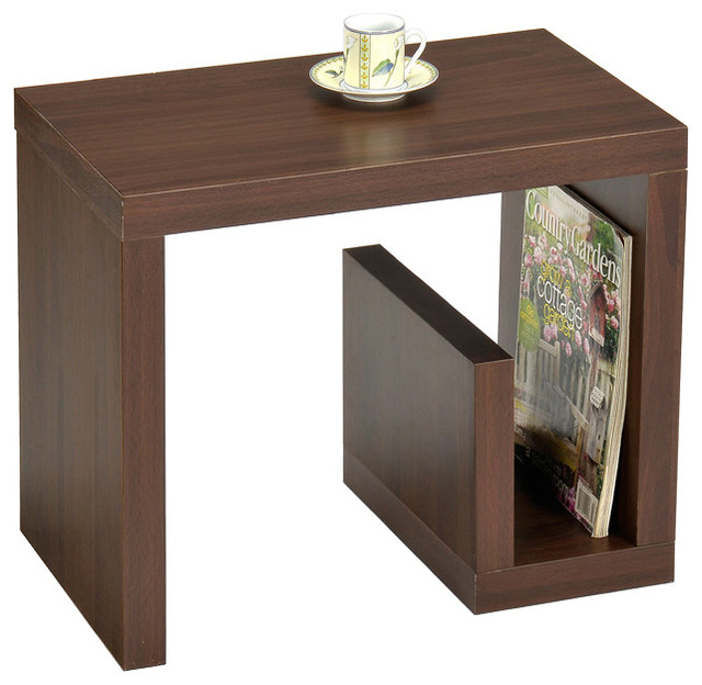 Walnut finish modern chair side end table contemporary for Contemporary end tables