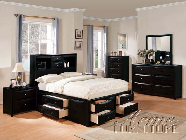 Acme furniture manhattan storage bed in black california - California king storage bedroom sets ...