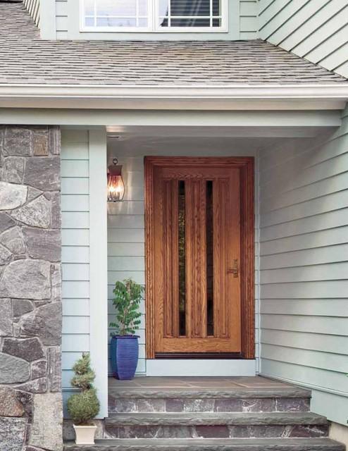Jeld wen 750 oak door wheat finish clear ig glass - Mid century exterior doors ...