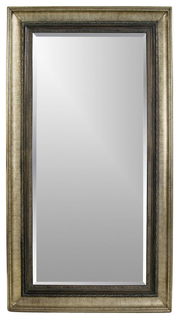 Leaning floor mirror w antique silver bronze accent for Silver framed floor mirror