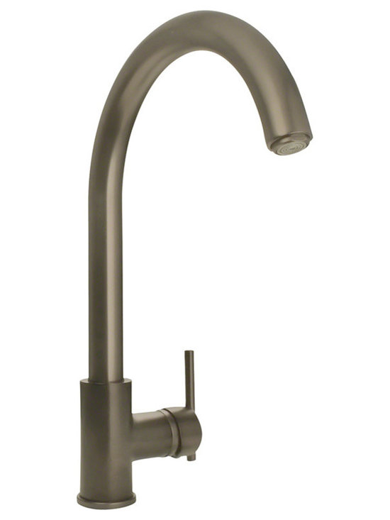 "MR Direct 711-bn Brushed Nickel Single Handle Kitchen Faucet - The 711 Single Handle Kitchen Faucet has a one or three-hole installation option and is available in a brushed nickel, oil-rubbed bronze or chrome finish. It is a versatile faucet with a 360 degree spout and optional base plate that can be used with a kitchen or bar sink. The dimensions for the 711 are 2 3/8"" x 15 1/4"" with a 9 1/8"" spout reach. This faucet is pressure tested to ensure proper working conditions and is covered under a lifetime warranty. With its simple design, the 711 is sure to complement any bar or kitchen sink."