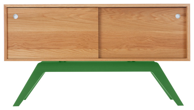 Elko Credenza Small, White Oak, Green Base midcentury-buffets-and-sideboards