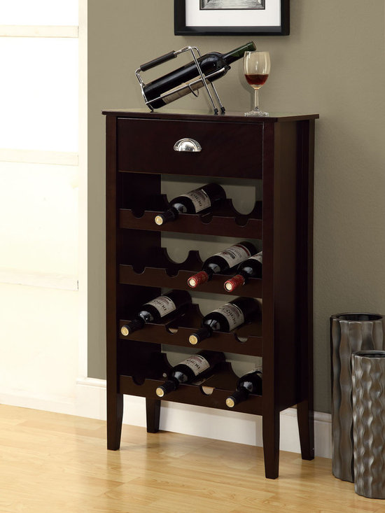 Monarch - Cappuccino 16-bottle Wine Rack - If you are always looking for somewhere to put all your wine bottles you can now stop! Get this solid-wood cappuccino finished wine rack that conveniently holds 16 of your favorite wine bottles!
