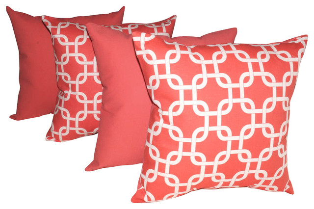 Premier Prints Gotcha Coral and Solid Coral Decorative Throw Pillows - Set of 4, contemporary-outdoor-cushions-and-pillows