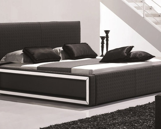 Georgia Bed Frame - The Georgia modern bedstead includes an expertly designed platform bed featuring detailed upholstery, sleek lines, and brushed metal accents.