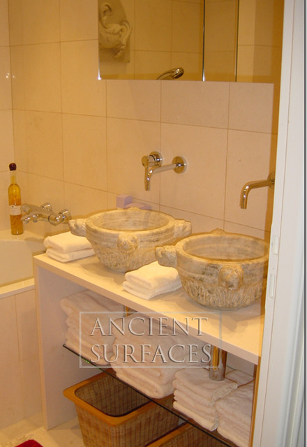 His and Hers Master Batroom Stone Sinks Mediterranean
