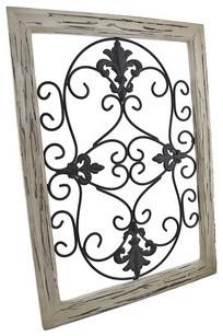 Distressed Wooden Tan Frame Wrought Iron Fleur de Lis Wall Decor 22 x 16 Inch traditional-home-decor