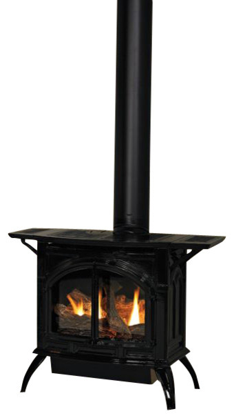 Heritage Cast Iron Porcelain Mahogany Stove DVP30CC30MN - Natural Gas modern-fireplaces