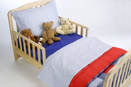American Baby Company Toddler Bedding Set - Chambray Blue & Red Patchwork contemporary-kids-bedding