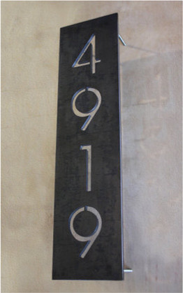 Vertical Steel Address Plaque By Austin Outdoor Studio contemporary-house-numbers
