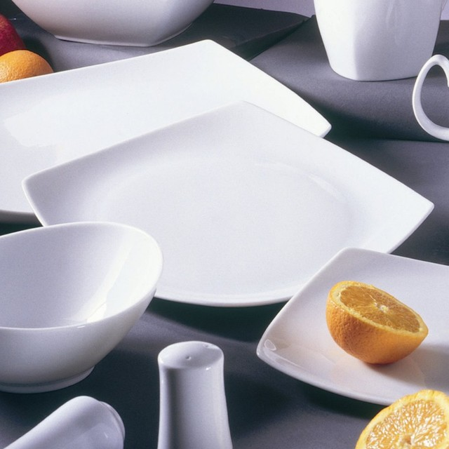 The square shape with graceful upturned corners of the 10 Strawberry Street Auro modern-dinnerware