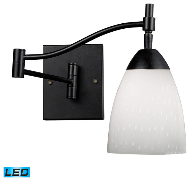 Celina LED 1-Light Swingarm Sconce in Dark Rust and Simply White Glass contemporary-swing-arm-wall-lamps
