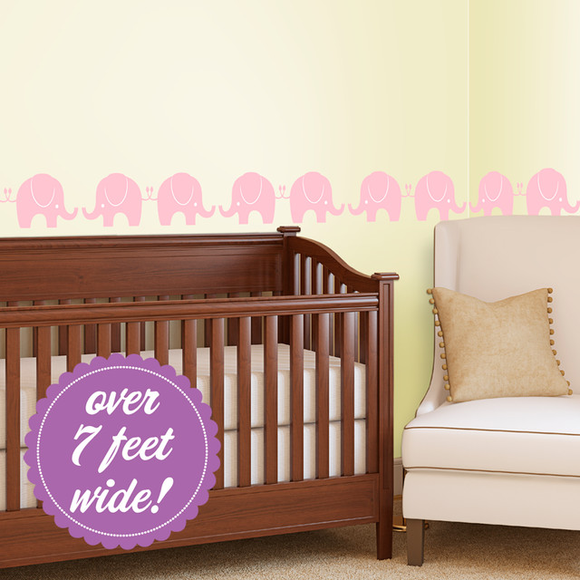 Parading Pink Elephants Decal contemporary-kids-wall-decor
