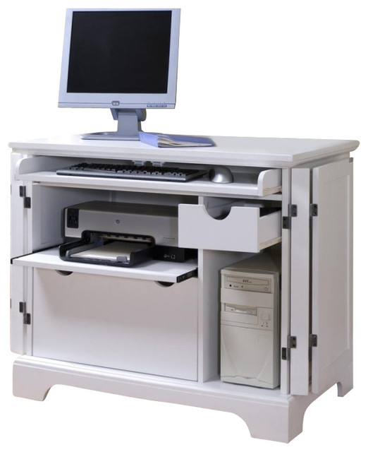 Home Styles Naples Compact Computer Desk in White Finish transitional