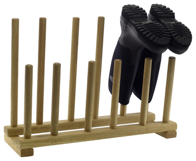 Oak Boot and Shoe Rack eclectic-shoe-storage