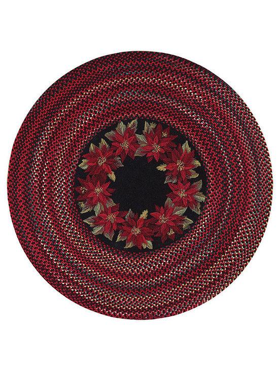Botanical rug in Poinsettia - Capel's Botanical rug is inspired by the beauty of the Biltmore Estate at Christmas. This loop hook center braided rug features a ring of seasonal poinsettias. The rug features as all wool center with a coordinating 50% wool braid border.