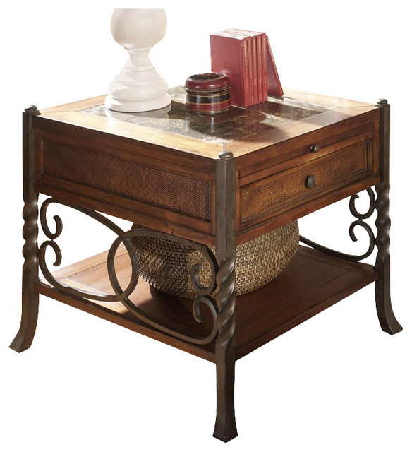 Riverside Furniture Medley Side Table in Camden / Wildwood Taupe transitional-nightstands-and-bedside-tables