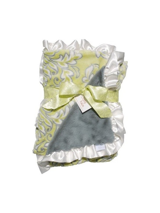 Belle & June - Lux Ruffle Baby Blanket - The perfect gift for the newest little one in your life, this extremely soft, damask blanket is sure to be their favorite blanket. With luxuriously soft front and back, and satin blanket ruffle trim, this baby blanket is soft and snuggly.