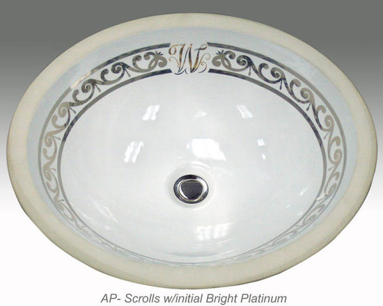 "Hand Painted Undermounts by Atlantis Porcelain - ""SCROLL with INITIAL"" Shown on AP-1420 white Monaco Medium undermount 17-1/4""x14-1/4"". Available on bright gold or platinum and burnished gold or platinum on any of our sinks."