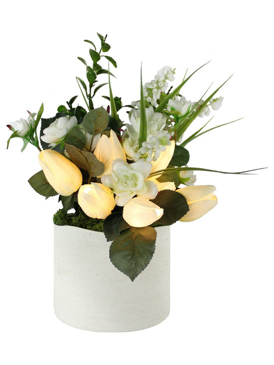 The Firefly Garden - Spring Tulips - Illuminated Floral Design, White, White Ceramic Vase - Bring the beauty of light and flowers together with Spring Tulips, a perfect home accent for a nook, bathroom, or side table. These high quality tulips look and feel real. Lovely by day and breath-taking at night, simply turn on this battery operated floral arrangement and watch the tulips light up!