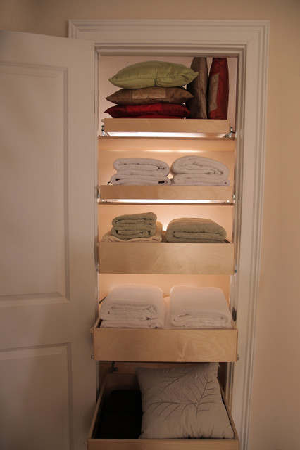 Linen Closet Pull Out Shelves - Closet Organizers - miami - by ShelfGenie of Miami