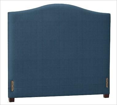 Raleigh Camelback Headboard, King, Brushed Canvas Harbor Blue traditional-headboards