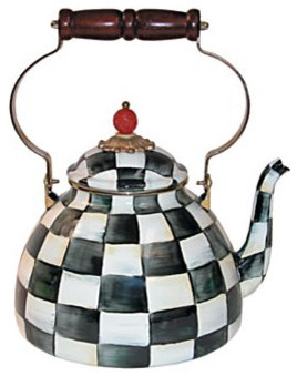 Mackenzie Childs Courtly Check Enamel Tea Kettle 3 Quart