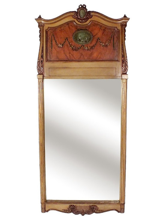 1970's European Style Large Trumeau Mirror - This is a large Trumeau Mirror,with a wood carved frame, two paintings one on top of the frame depicting cupid, another on the center top frame depicting a woman picking up flowers with cupid in a garden background. Mirror is fully reflective.