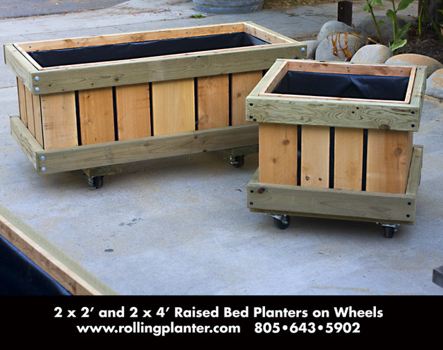 2 x 2 and 2 x 4 Raised Bed Planter on Wheels contemporary patio