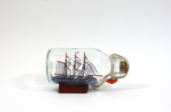 Vintage Little American Ship in a Bottle by Zuzashop traditional-artwork