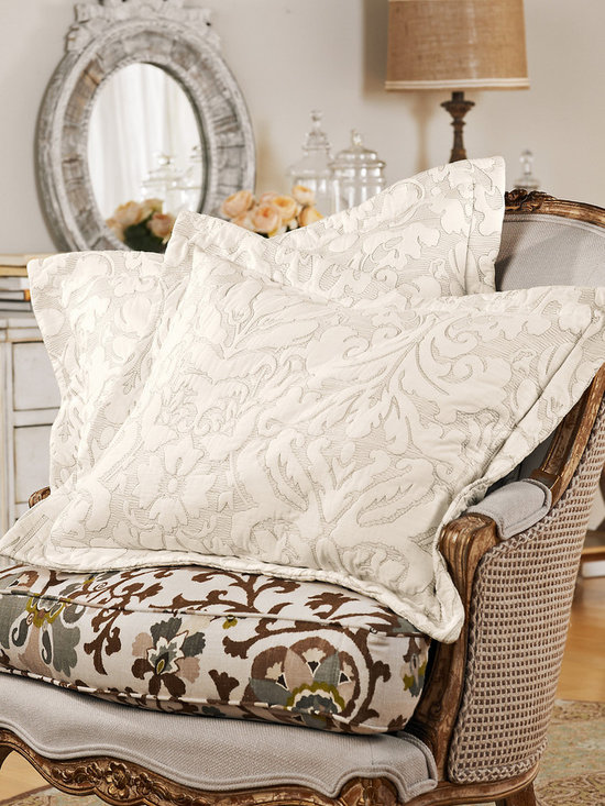 Amalfi Bed Sham - Walking through the seaside village of Amalfi, you are immersed in a culture that meshes the exquisite allure of palazzo architecture and the natural beauty of the cliffs and sea. It is this eclectic mixture that inspired the Amalfi collection. An intricate age old bas-relief stitching technique creates the look of a classic Italian damask that sculpt both sides of our all-season collection.