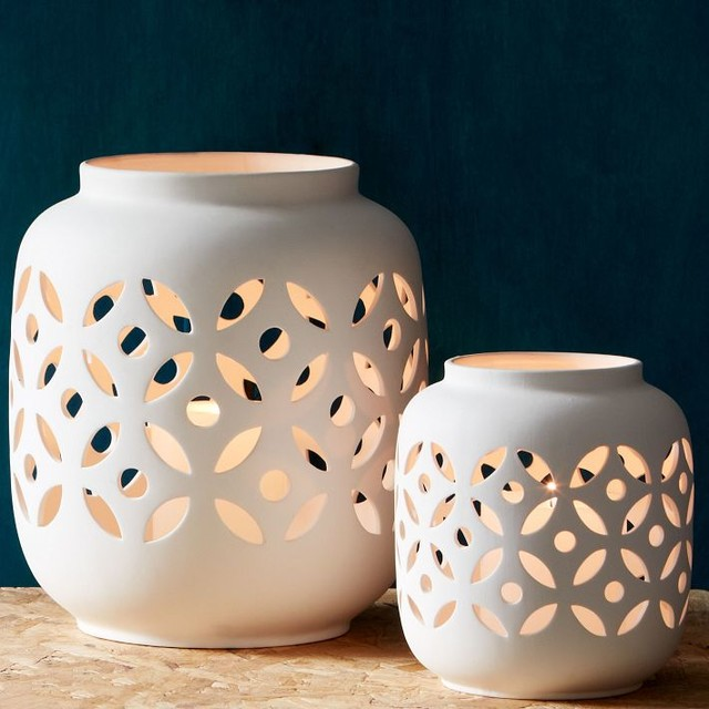 Porcelain Hurricanes, Floral modern-candles-and-candle-holders