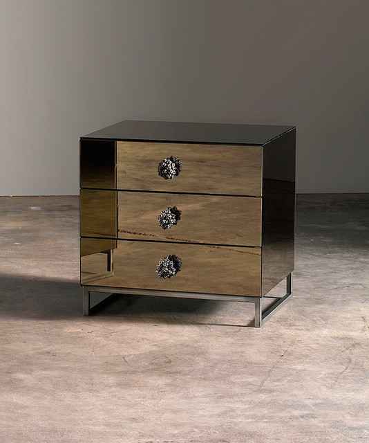 3 Drawer Urban Botanical Night Stand with Bronze Mirror - Transitional - Side Tables And Accent ...