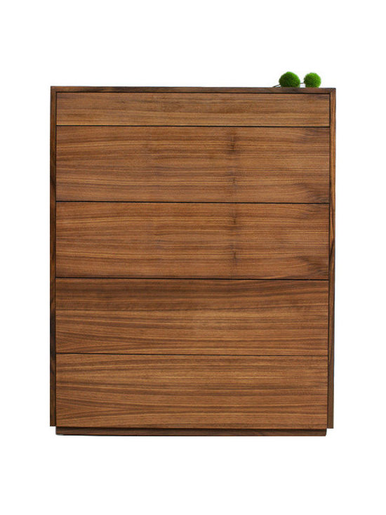 """2131 - Walnut Dresser - This walnut dresser is absolutely clean in design, with push to pull drawers that you gently push to open. There are five 9"""" deep drawers with separators within, and a top 3"""" deep drawer for other smaller belongings. The piece is walnut inside and outside, the beauty of the wood continuing in every aspect of the piece."""