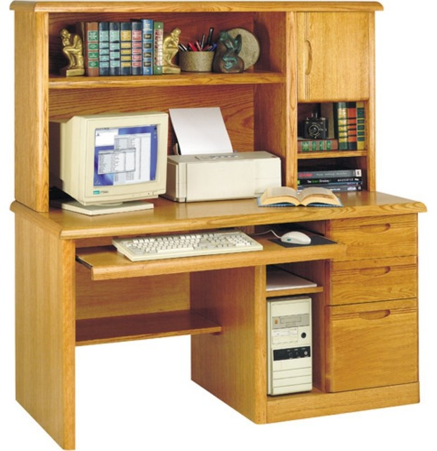 Martin Waterfall Computer Desk and Hutch - Modern - Desks And Hutches