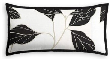 black white modern leaf custom lumbar pillow modern decorative pillows by loom decor. Black Bedroom Furniture Sets. Home Design Ideas