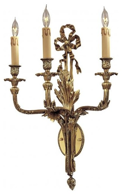 French Gold 3 Light Candle-Style Wall Sconce - Traditional - Wall Sconces - by We Got Lites
