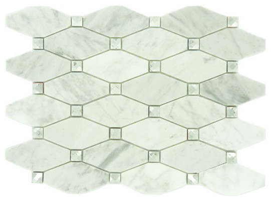 Imperial Cloud IS1 Unique Shapes White Backsplash Polished Glass and Stone modern-tile