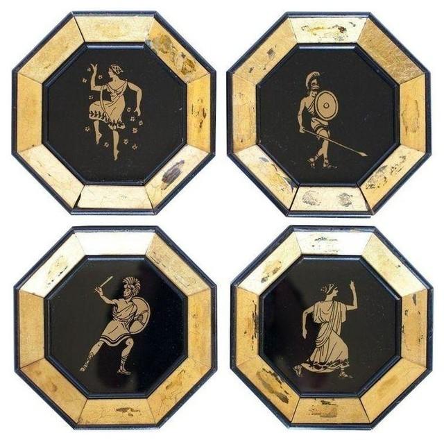Pre-owned Octagonal Greek Warrior Decorative Plates - 4 mediterranean-decorative-plates