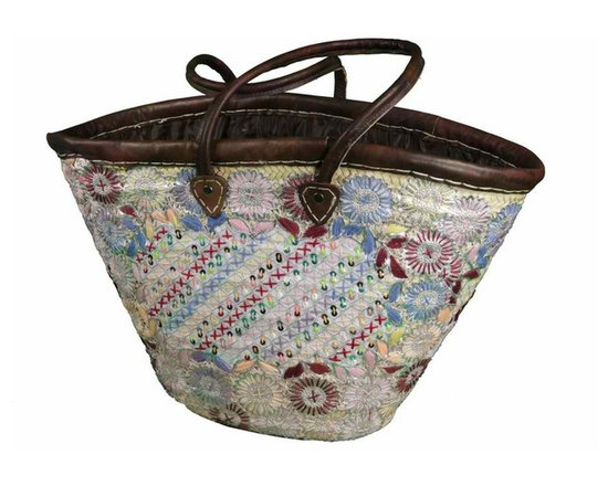 Chic Moroccan Market Tote - Handmade chic Moroccan basket crafted of gorgeous embroidery on top of woven strips of date palm leaves and trimmed in leather with leather handles. It is sturdy and firmly executed to last for long life.