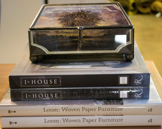 Cabana Home vignette: Glass Box and Books - Books and Accessories available at Cabana Home